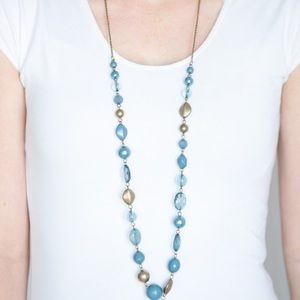 Paparazzi Secret Treasure Blue and Brass Necklace